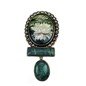Water Lily Carved Enamel Pendant & Brooch  Pin